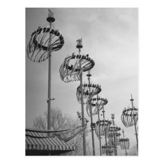 Decorations on poles B&W high section Postcard