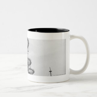 Decorations on poles B&W high section Two-Tone Coffee Mug