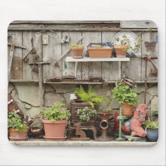 Decorations on wooden fence, Catalina Island, Mouse Pad