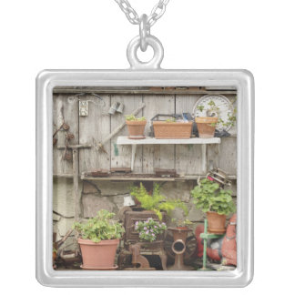 Decorations on wooden fence, Catalina Island, Square Pendant Necklace