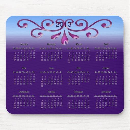Decorative 2013 Calendar Mousepad