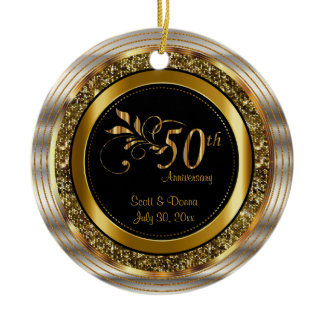 Decorative 50th Golden Anniversary Ceramic Ornament