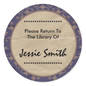 Decorative 7 Name Address Bookplate sticker