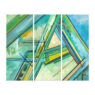 Decorative Abstract Business Blue Green 3 Panels Canvas Print