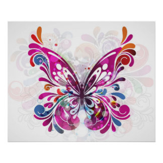Decorative abstract Butterfly Poster