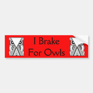 Decorative Abstract Owl (Black, White & Red) Bumper Sticker