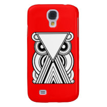 Decorative Abstract Owl (Black, White & Red) Galaxy S4 Case