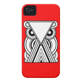 Decorative Abstract Owl (Black, White & Red) iPhone 4 Case