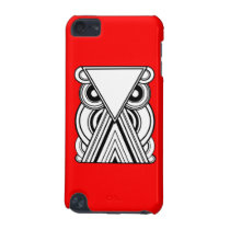 Decorative Abstract Owl (Black, White & Red) iPod Touch (5th Generation) Cover