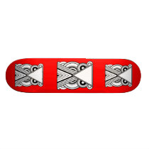 Decorative Abstract Owl (Black, White & Red) Skateboard