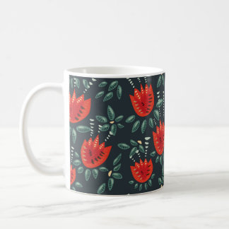 Decorative Abstract Red Tulip Dark Floral Pattern Coffee Mug