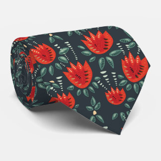 Decorative Abstract Red Tulip Dark Floral Pattern Neck Tie