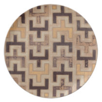Decorative African Mudcloth Pattern Melamine Plate