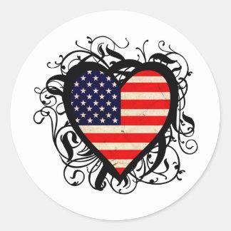 Decorative American Heart Classic Round Sticker