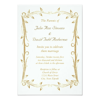 Decorative Antique Gold Border Wedding Card