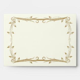 Decorative Antique Gold Border Wedding Envelope