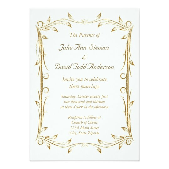 Wedding Invite Borders: Decorative Antique Gold Border Wedding Invitation
