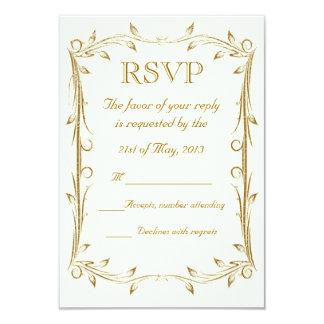Decorative Antique Gold Border Wedding RSVP Card