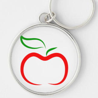 Decorative Apple Silver-Colored Round Keychain