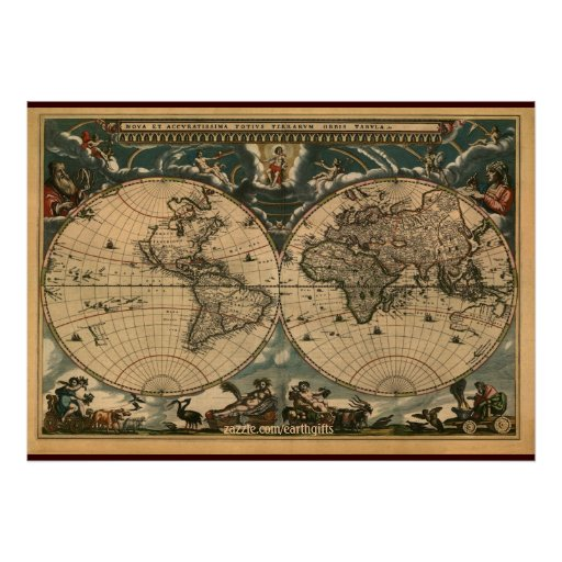 Decorative Arty Old World Map Poster Zazzle
