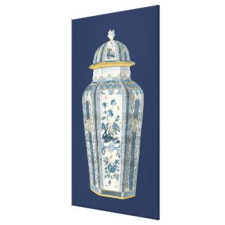 Decorative Asian Urn in Blue & White Canvas Print