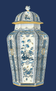 Decorative Asian Urn In Blue White Light Switch Cover