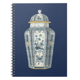 Decorative Asian Urn in Blue & White Notebook