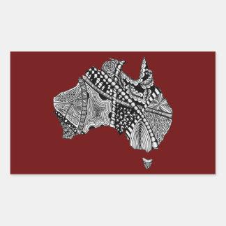 Decorative Australia Map Art Rectangular Sticker