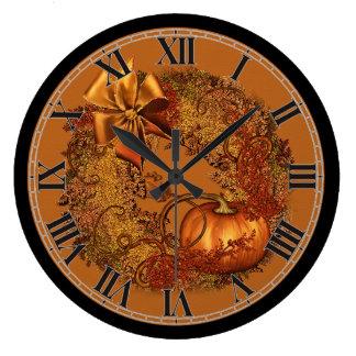 Decorative Autumn Pumpkin Wreath Round Wall Clock