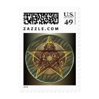 Decorative Autumn Shades Pentacle Postage Stamp