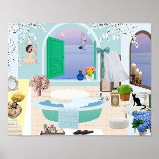 Decorative Bathroom Poster with claw foot bathtub