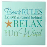 """Decorative Beach Rules Tile<br><div class=""""desc"""">Insert this ceramic tile anywhere you want. Bring it to your kitchen backsplash or to your bathroom.</div>"""
