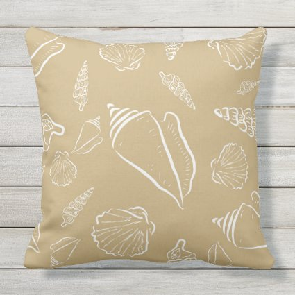 Decorative Beach Themed Seashells Throw Pillow
