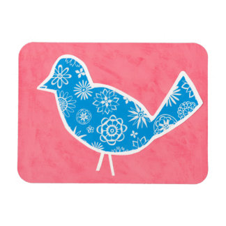Decorative Bird with Patterns on Pink Background Magnet