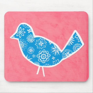Decorative Bird with Patterns on Pink Background Mouse Pad