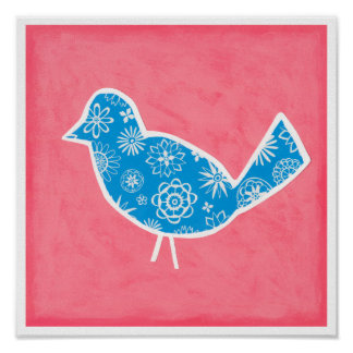 Decorative Bird with Patterns on Pink Background Poster