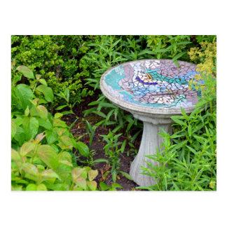 Decorative birdbath print postcard