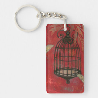 Decorative Birdcage with Butterflies Double-Sided Rectangular Acrylic Keychain