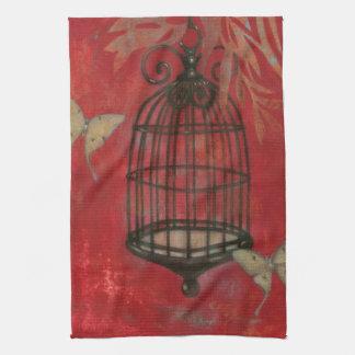 Decorative Birdcage with Butterflies Hand Towels