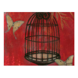 Decorative Birdcage with Butterflies Postcard