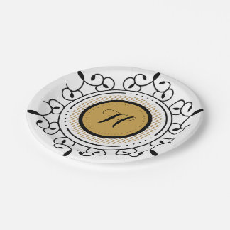 Decorative Black and Gold Scroll, Monogram Paper Plate