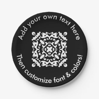 Decorative Black and White Custom Text Paper Plate