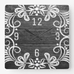 Decorative Black And White Distressed Wood Square Wall Clock