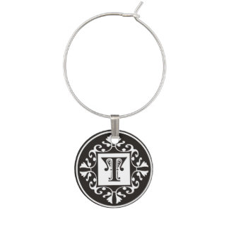 Decorative Black And White Initial T Monogram Wine Glass Charms