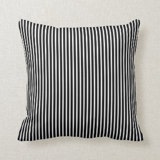 Decorative Black and White Thin Striped Throw Pillows
