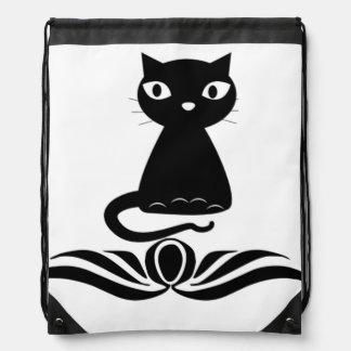 Decorative Black Cat Drawstring Bag