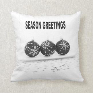Decorative Black Christmas Balls Cushion Throw Pillow