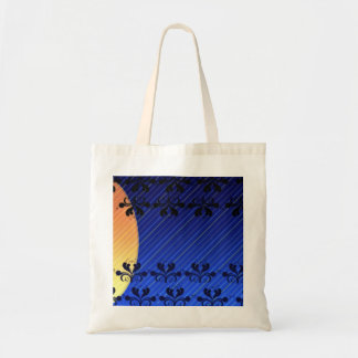 Decorative Black Damask and stripped pattern Tote Bag