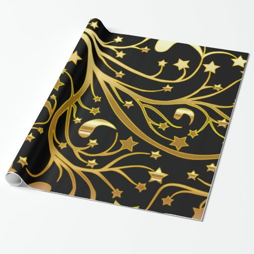 Decorative Black Gold Look Chic Christmas Stars Wrapping