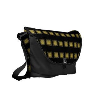 Decorative Black Gold Squares Messenger Bag